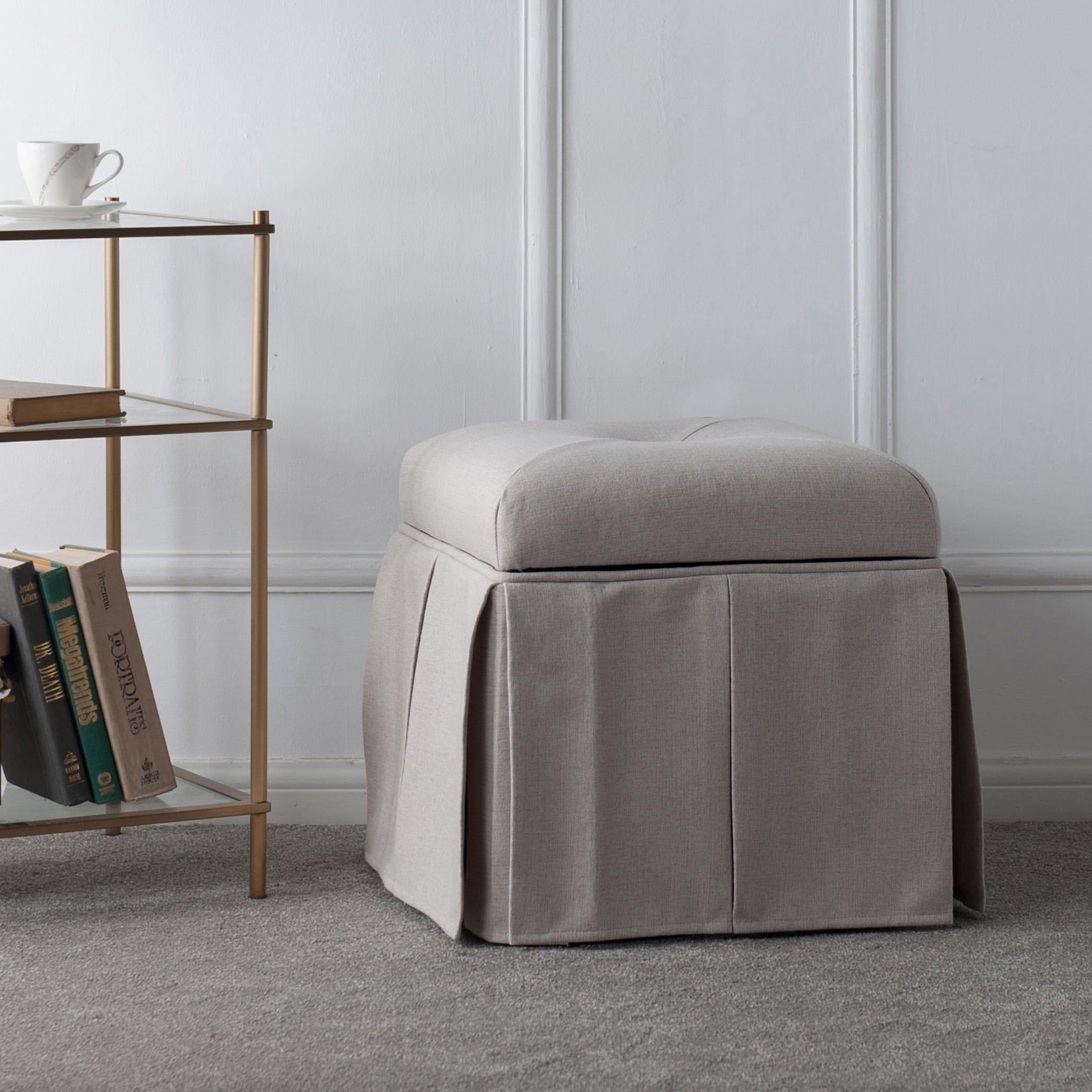 jennifer taylor stacy square storage vanity stool ebay. Black Bedroom Furniture Sets. Home Design Ideas