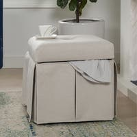 Jennifer Taylor Stacy Square Storage Vanity Stool