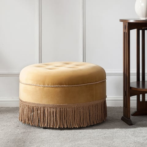 Yolanda Tufted Velvet Round Footstool Ottoman by Jennifer Taylor Home