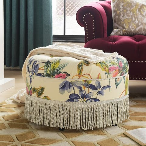 Yolanda Tufted Velvet Decorative Round Footstool Ottoman by Jennifer Taylor Home