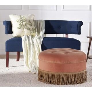 Yolanda Tufted Velvet Decorative Round Footstool Ottoman by Jennifer Taylor Home