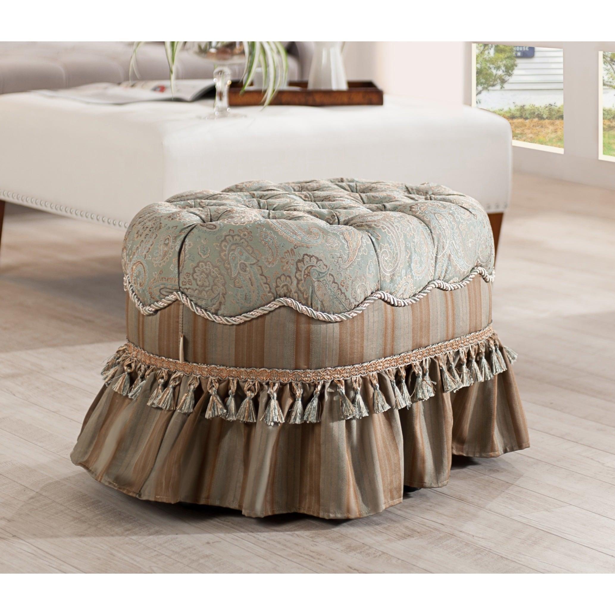 Jennifer Taylor Toby Decorative Oval Ottoman, Seamist Gre...