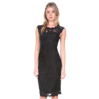 Stanzino Women's Lace Overlay Sleeveless Cocktail Dress