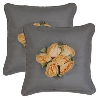 Shantung Bouquet Wedgewood 17-inch Throw Pillows (Set of 2)