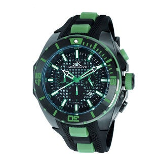 Adee Kaye Men's 'Imposer' Collection Green Two-tone Strap Watch