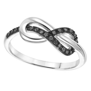 Cambridge Sterling Silver 1/10ct TDW Black Diamond Infnity Ring