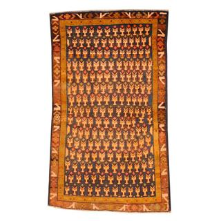 Herat Oriental Semi-antique Afghan Hand-knotted Tribal Balouchi Navy/ Brown Wool Rug (2'5 x 4'2)