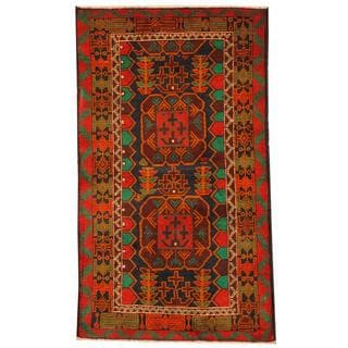 Herat Oriental Semi-antique Afghan Hand-knotted Tribal Balouchi Navy/ Red Wool Rug (2'8 x 4'8)