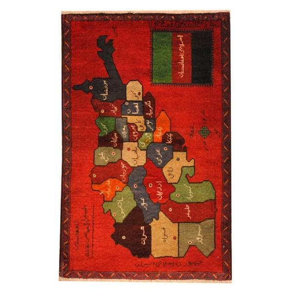 Handmade Herat Oriental Semi-antique Afghan Tribal Balouchi Red/ Green Wool Rug (Afghanistan) - 2'9 x 4'4