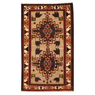 Herat Oriental Semi-antique Afghan Hand-knotted Tribal Balouchi Ivory/ Blue Wool Rug (2'9 x 4'8)