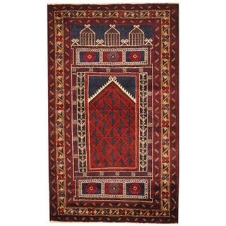 Herat Oriental Afghan Hand-knotted 1950s Semi-antique Tribal Balouchi Wool Rug (3' x 4'11)