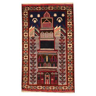 Herat Oriental Semi-antique Afghan Hand-knotted Tribal Balouchi Blue/ Ivory Wool Rug (2'9 x 4'6)