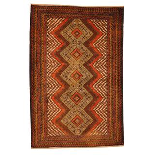 Herat Oriental Semi-antique Afghan Hand-knotted Tribal Balouchi Rust/ Ivory Wool Rug (2'11 x 4'6)
