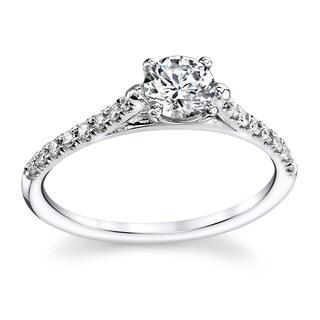 Classic 14k White Gold 3/5ct TDW Round Diamond Engagement Ring