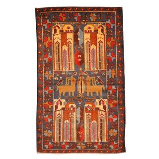 Herat Oriental Semi-antique Afghan Hand-knotted Tribal Balouchi Navy/ Red Wool Rug (2'9 x 4'8)