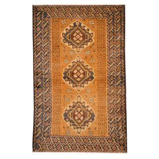 Herat Oriental Semi-antique Afghan Hand-knotted Tribal Balouchi Brown/ Navy Wool Rug (2'10 x 4'6)