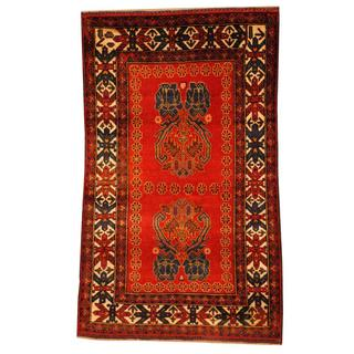 Herat Oriental Semi-antique Afghan Hand-knotted Tribal Balouchi Red/ Navy Wool Rug (2'10 x 4'7)