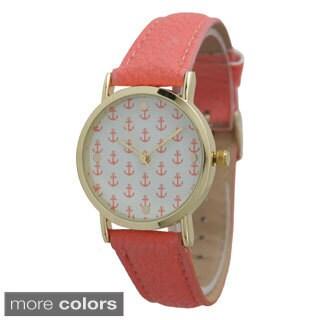 Olivia Pratt Women's Mini Anchor Leather Strap Watch