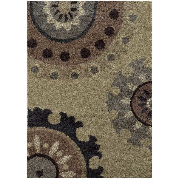 Overscale Floral Shag Beige/ Midnight Rug (9'10 x 12'10)