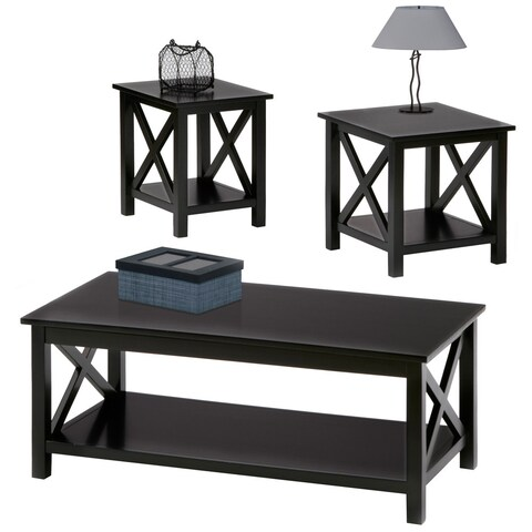 Seascape II 3-piece Textured Black Tables