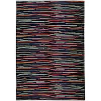 Pantone Universe Expressions Abstract Lines Blue/ Multi Rug - 9'9 x 12'2