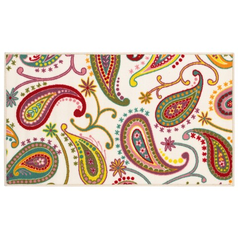 Paisley Youth Loop-pile White/ Multi Rug (4'4 x 6'9)