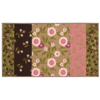Floral Youth Brown/ Pink Loop-pile Rug (4'4 x 6'9)