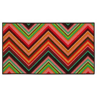 Chevron Youth Loop-pile Pink/ Orange Rug (4'4 x 6'9)