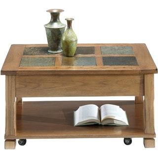 Light Oak Veneer/ Elm Rectangular Lift-top Cocktail Table