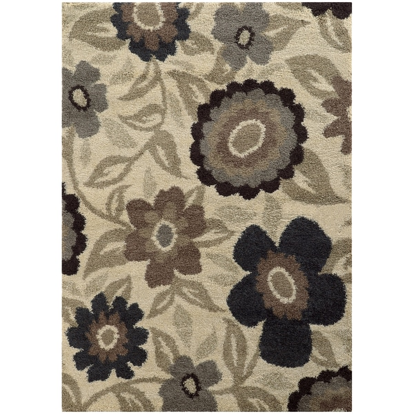 Overscale Floral Shag Ivory/ Beige Rug - 7'10 x 10'10