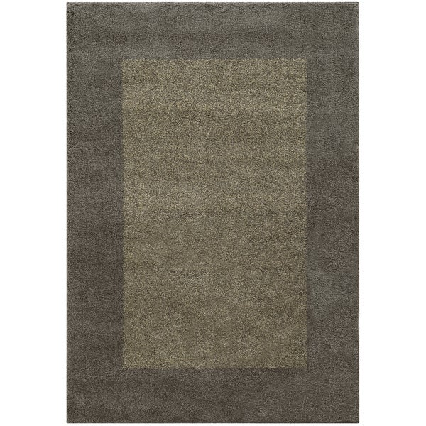 Shop Two Tone Border Shag Grey Beige Rug 9 10 X 12 10