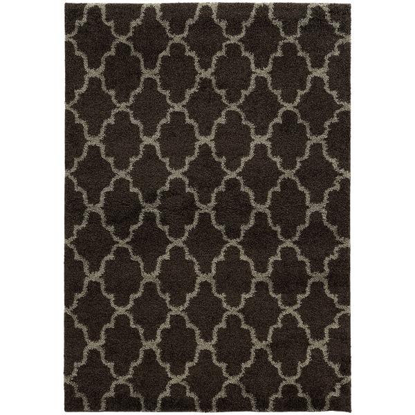 """Scalloped Lattice Shag Midnight/ Grey Rug (7'10 x 10'10) - 7'10"""" x 10'10"""""""