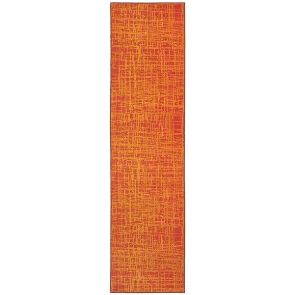 "Aura Abstract Impressions Orange/ Yellow Area Rug (2'7 x 10') - 2'7"" x 10' Runner"