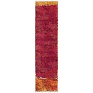 Aura Faded Abstract Orange/ Pink Area Rug (2'7 x 10')
