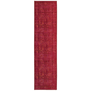 Aura Faded Traditions Floral Pink/ Red Area Rug (2'7 x 10')