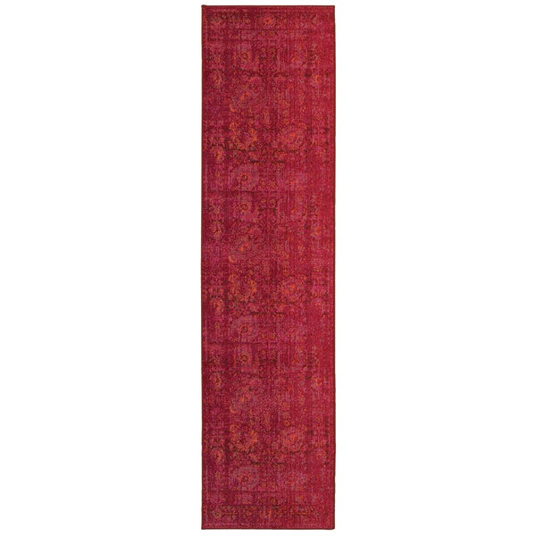 """Aura Faded Traditions Floral Pink/ Red Area Rug (2'7 x 10') - 2'7"""" x 10' Runner"""