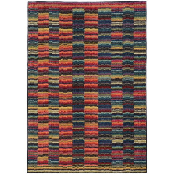 """Pantone Universe Expressions Abstract Lines Red/ Blue Rug (9'9 x 12'2) - 9'9"""" x 12'2"""""""