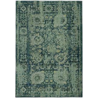 Pantone Universe Expressions Faded Floral Traditional Blue/ Green Rug (9'9 x 12'2)