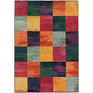 Aura Colors Geometric Block Blue/ Pink Area Rug (7'10 x 10'10)