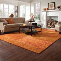 "Aura Abstract Impressions Orange/ Yellow Area Rug (6'7 x 9'1) - 6'7"" x 9'1"""