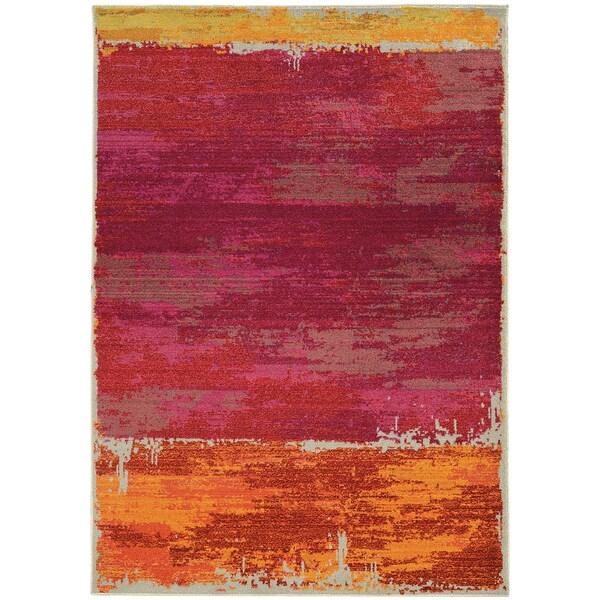 "Aura Faded Abstract Orange/ Pink Area Rug (6'7 x 9'1) - 6'7"" x 9'1"""