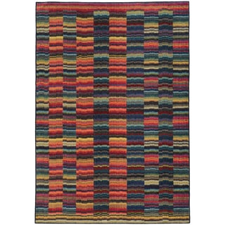 Pantone Universe Expressions Abstract Lines Red/ Blue Rug (5'3 x 7'6)