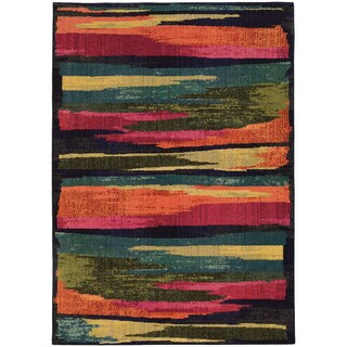 Pantone Universe Expressions Abstract Multi/ Blue Rug (6'7 x 9'1)