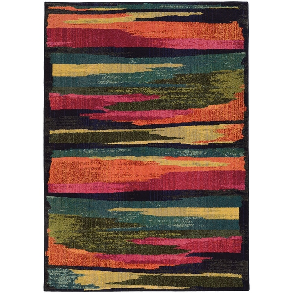 """Pantone Universe Expressions Abstract Multi/ Blue Rug (6'7 x 9'1) - 6'7"""" x 9'1"""""""