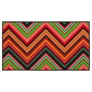 Chevron Youth Loop-pile Pink/ Orange Rug (2'2 x 3'9)