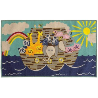 Noah's Ark Youth Loop-pile Blue/ GreyRug (4'4 x 6'9)