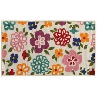 Floral Youth Loop-pile Brown/ Green Rug (4'4 x 6'9)