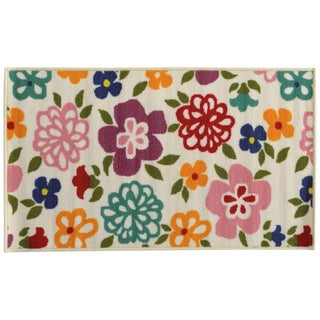 Floral Youth Loop-pile Brown/ Green Rug (4'4 x 6'9)