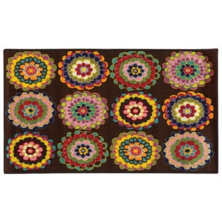 Floral Youth Loop-pile Brown/ Pink Rug (4'4 x 6'9)