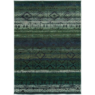 Tribal Etchings Green/ Blue Rug (9'9 x 12'2)